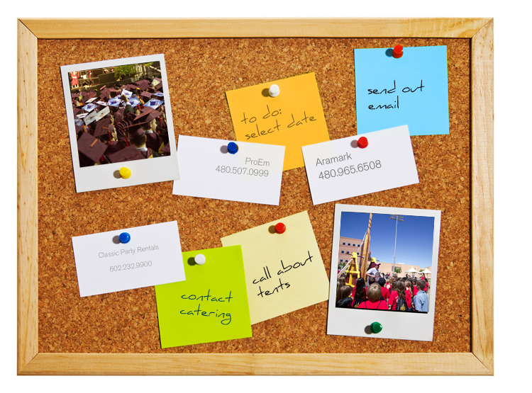 corkboard with to do items and photos pinned to it